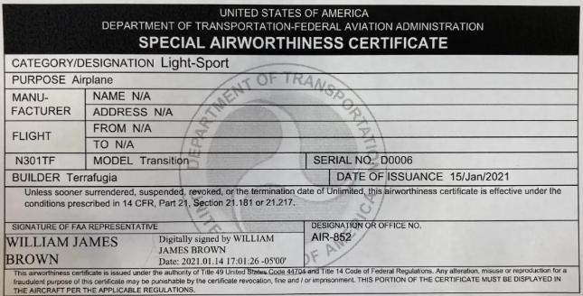FAA颁发给太力飞车的适航证书